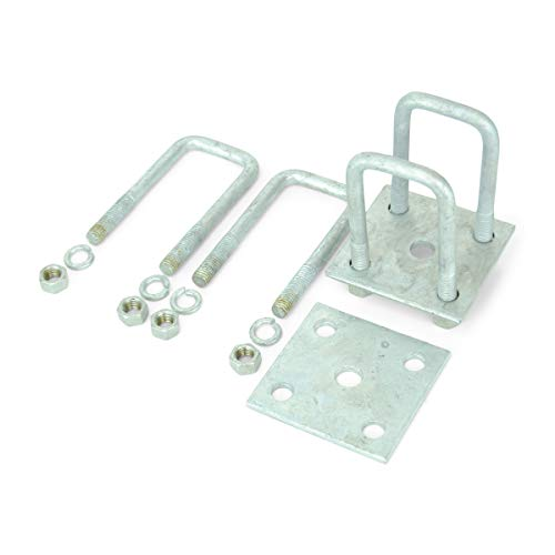 Sturdy Built Single Axle Galvanized U Bolt Kit for mounting Boat Trailer Leaf Springs for 2x2 axle - 5 1/4
