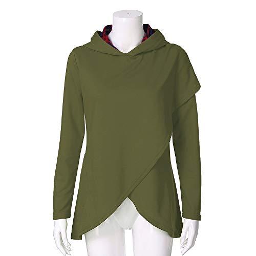 Sportiva Autunno Felpa Lunghe Sweatshirt Invernale Moda Hoodies felpa Plaid Orlo Asimmetrico Maniche Byste Cappuccio Con Hoody Elegante Verde Donna Streetwear ZxvxYwqE