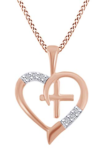Round Shape White Natural Diamond Accents Cross Heart Pendant Necklace In 10k Solid Rose Gold