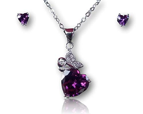Lyric in Life The Marie, Hypo 18k White Gold Plated Purple Heart & Butterfly Pendant Necklace w/Matching Earrings