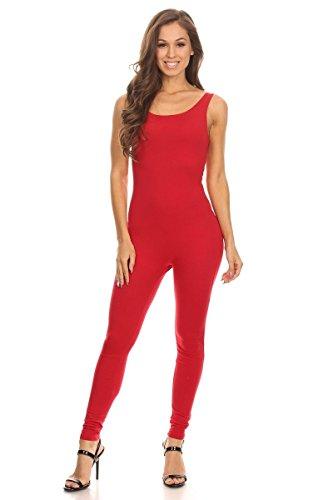 Women's Scoop Neck Sleeveless Stretch Cotton Jersey Unitard Bodysuits Red Medium ()