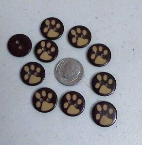 (JumpingLight 20 PAW Print 2-Hole Brown Resin Buttons 5/8