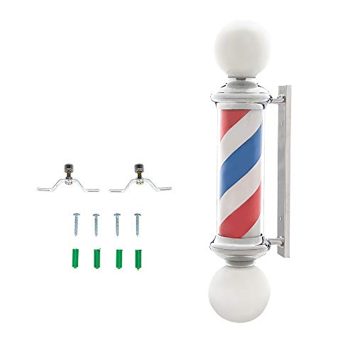 YQBOOM 39″ Barber Pole LED Light,Classic Style Hair Salon Barber Shop Open Sign,Rotating Red White Blue LED Strips,IP44 Waterproof Save Energy (39″)