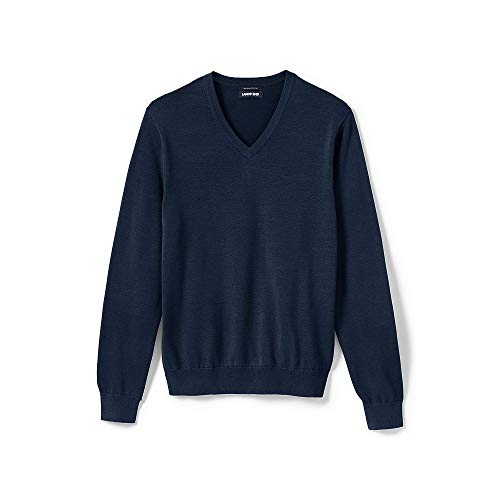 Lands' End Men's Classic Fit Fine Gauge Supima Cotton V-Neck Sweater, M, Classic Navy