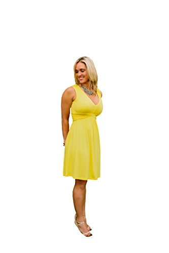 bee097316468 Charm Your Prince Women s Sleeveless Summer Sun Dress Bright Yellow Medium