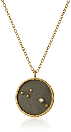 Satya Jewelry Zodiac Gold-Plated Diamond Aries Constellation Necklace (18-Inch) Designer Si2 Necklace
