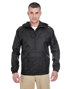 UltraClub Adult 1/4-Zip Hooded Pullover Pack-Away Jacket L Black