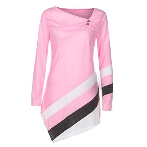 HaiDean Magliette Donna Eleganti Primaverile Autunno Camicia A Maniche Lunghe Rotondo Collo Colori Misti Shirts Tempo Libero Fashion Semplice Glamorous Felpe Tops Camicetta Sweatshirts Rosa
