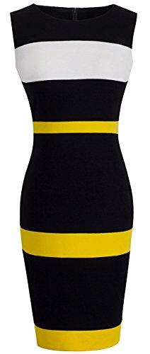 HOMEYEE Women's Voguish Colorblock Stripe Pencil Dress B275 (L, Yellow + White + Black) (Yellow Casual Dress)