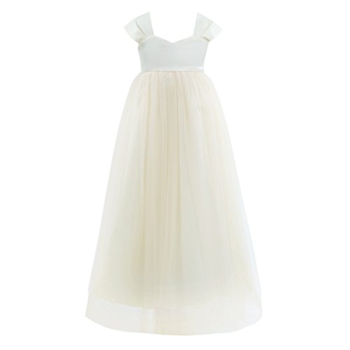 iEFiEL Girls Tulle Flower Girl Dress Princess Pageant Wedding Bridesmaid Gown Cream 6]()