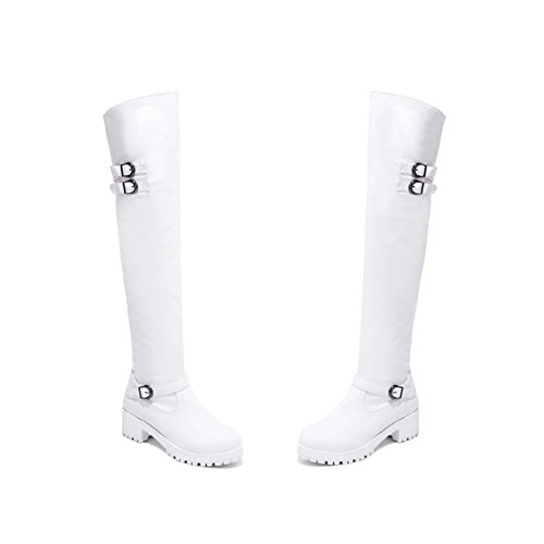 DecoStain Women's Black Single Buckle Knee High Boots Double Buckle White xXirj3bvI