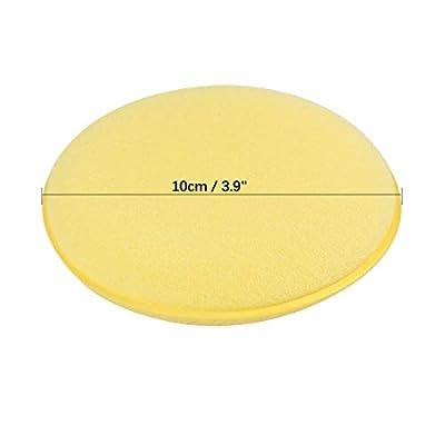 X AUTOHAUX 12pcs Yellow Universal Multifunctional 10cm Diameter Car Cleaning Sponge: Automotive