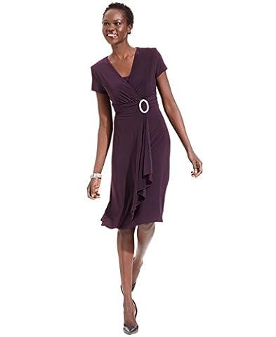 R & M Richards Womens Matte Jersey Knee-Length Cocktail Dress Purple 12 - Matte Jersey Surplice