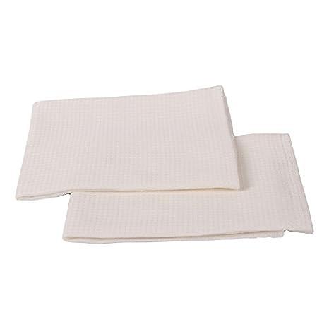 Toallas de mano y visitas Wafer de lino y algodón. Juego de 2. Color blanco. LinenMe 33 x 50 cm.: Amazon.es: Hogar