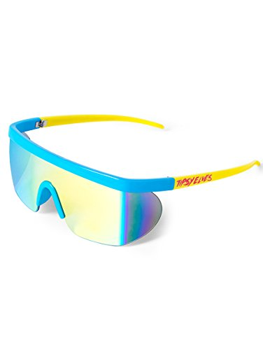 Unisex Performance Sport Style Retro Mirrored Sunglasses (Neon Blue, - Sunglasses 80s