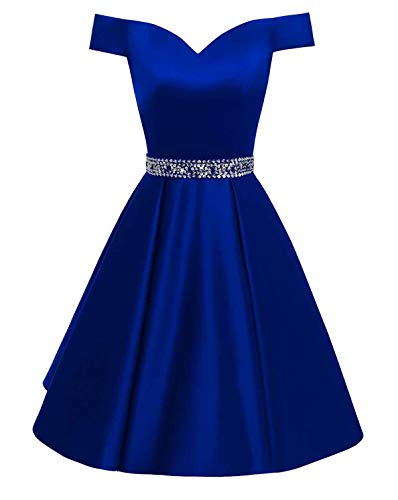 Changuan Women's Short Beaded Prom Dresses Off The Shoulder Backless Homecoming Dress Royal ()