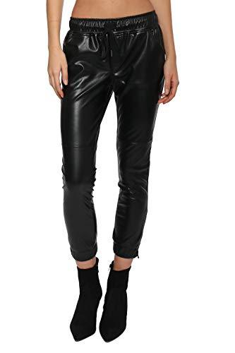 Brooklyn Karma Faux Leather Joggers Black/M
