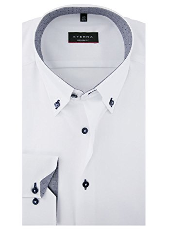 ETERNA Herren Langarm Hemd Modern Fit Button-Down-Kragen weiß mit Patch 8102.00.X14E