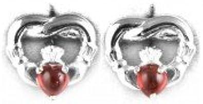 Silverspirit joyas irlandés Claddagh pendientes de plata con rojo granate circonita