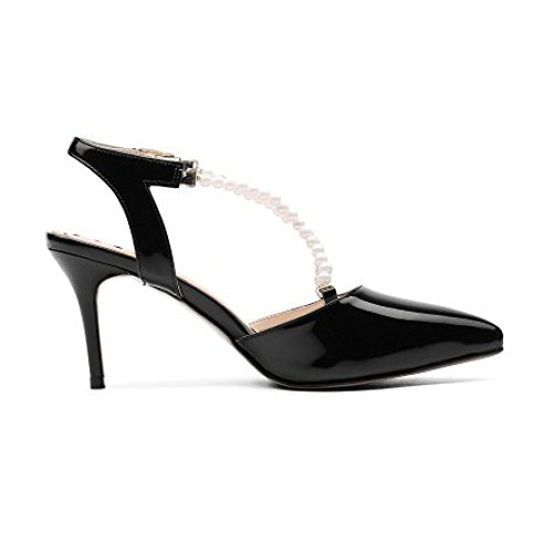Summer Sandals Hollow Slingback Women's Heeled Pearl Heels Sandals Strap High Leather Pointy High Black Patent RCqOCw