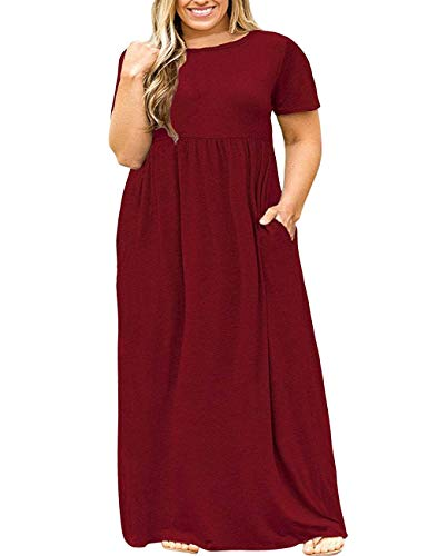 Kancystore Women's Plus Size Loose Maxi Dresses Casual Maternity Dresses with Pockets Burgundy 4XL