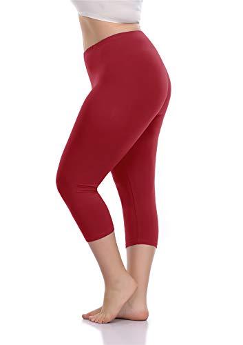 VOGUEMAX Women's Capri Leggings Plus Size Stretch and Comfy High Waisted Three-Quarter Leggings Plus Wine ()