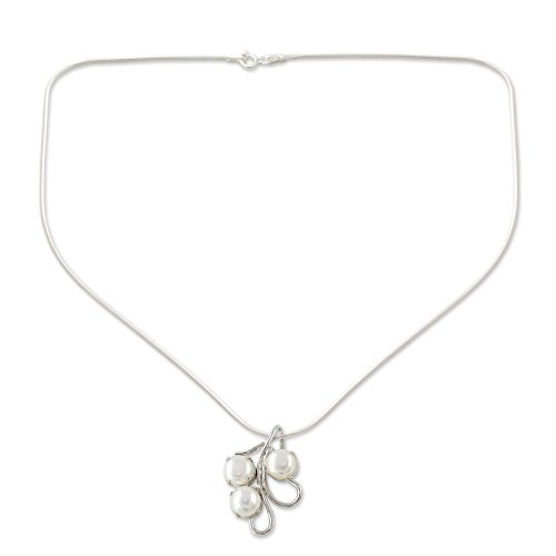 """NOVICA Cream Cultured Freshwater Pearl .925 Sterling Silver Bridal Necklace, 15.75"""""""
