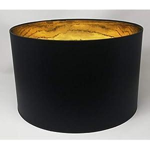 40 cm Tambour Abat-jour , Fait à la Main , Tissu Noir Doublure dorée , pour Plafond , Suspension , Table Lampe