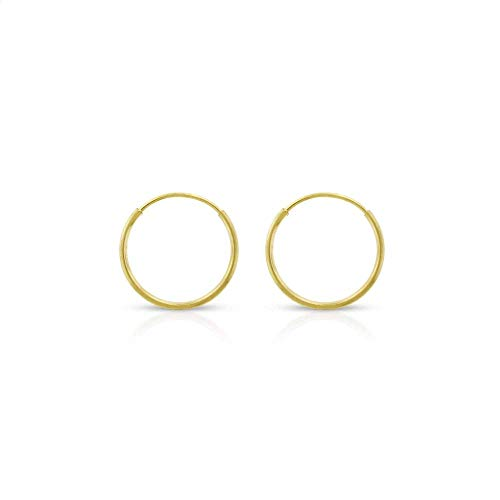 14k Yellow Gold Women's Endless Tube Hoop Earrings 1mm Thick 10mm - 20mm (10mm)