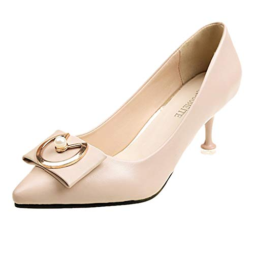 (Sunhusing Women Pumps Middle Heels Single Shoes Pointed Toe Thin High Heels Ankle Shoes Beige)