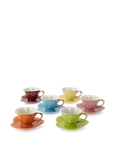 Classic Coffee & Tea Inside Out Heart Cups & Saucers, Set of 6, Assorted/Gold, 3 Oz. by Yedi Houseware