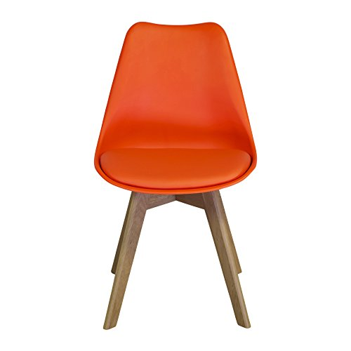 Design Tree Home Jacob Side Chair, Soft Padded Seat, Orange