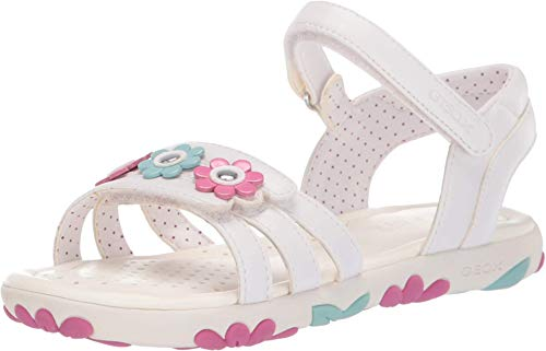 Geox Kids Girl's Haiti Girl 2 Sandal (Little Kid/Big Kid) White 35 (US 3.5 Big Kid)
