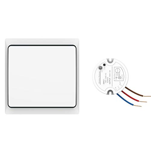 Single Bookcase Light - Crelander Self-powered Waterproof Wireless Light Switch Kit On/off Control Single Pole Wall Switch + One Receiver Module Lvr900