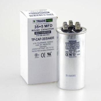 TradePro 35+5 MFD 440 Volt Round Capacitor TP-CAP-35/5/440R (440v Mfd Round Capacitor)