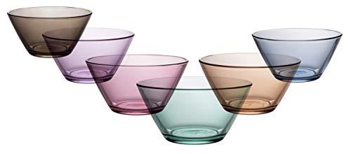 (Coral Vega Mini Prep Bowl, Colored Stackable Glass Mixing Bowls, Set of 6, 11 OZ )