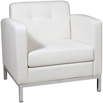 Amazon Com Acme Balin White Faux Leather Accent Chair