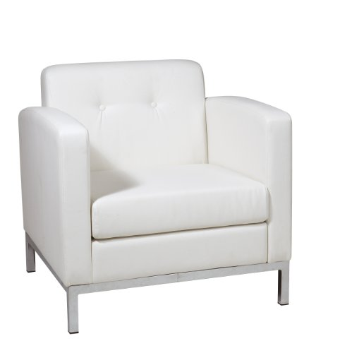 AVE SIX Wall Street Faux Leather Armchair with Chrome Finish Base, White