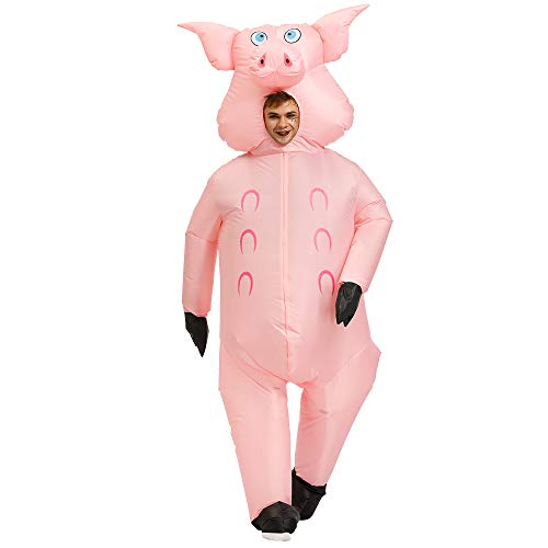 Kooy Inflatable Dinosaur/Unicorn/Flamingo/Pink Pig/Cowboy Costume Halloween Costume Inflatable Costumes for Adults/Child
