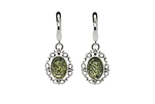 925 Sterling Silver Filigree Leverback Dangle Earrings with Genuine Natural Baltic Green (Amber Oval Post)