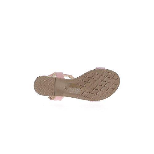 Aspetto rosa a piedi nudi in pelle e paillettes