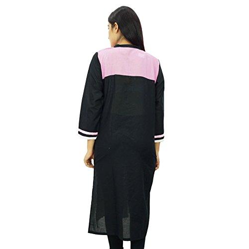 Las mujeres usan étnico casual Kurti india de Bollywood bordado superior de la túnica Negro y rosa
