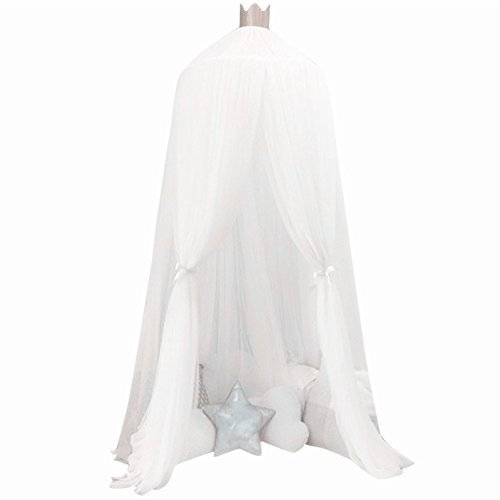 Baby Mosquito Net Kids Toddler Bed Crib Dome Canopy Netting(Lace White)