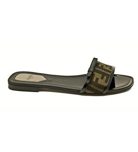 Fendi Women's 8x4565 W34 Foq81 Zucca Beige Canvas Sandals - IT 37.5 UK 4.5 US 6.5