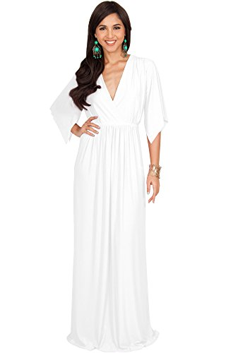 KOH KOH Plus Size Womens Long Kaftan Caftan Short Sleeve Empire Waist Flowy V-Neck Summer Bridesmaid Evening Sexy Cute Modest Maternity Gown Gowns Maxi Dress Dresses, Ivory White XL 14-16