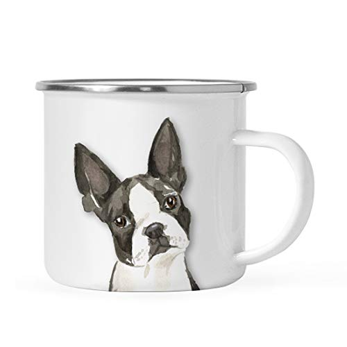 Andaz Press 11oz. Stainless Steel Dog Campfire Coffee Mug Gift, Boston Terrier Up Close, 1-Pack, Pet Animal Camp Camping Enamel Cup Modern Birthday Gift Ideas for Him Her Family