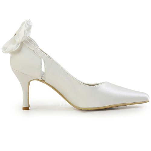 mariée Chaussure blanc Blanc de satin rrcqCw5Fx