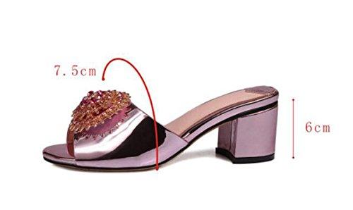 PBXP Hausschuhe OL 6 cm Chunky Ferse Elegante Strass Blumen Dekoration Anti-Rutsch Komfortable Casual Fashion Schuhe EU Größe 34-40 , purple , 35