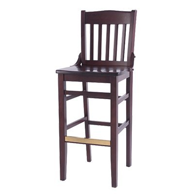 Oak Street Schoolhouse Style Wood Barstool Mahogany Finish With Brass Guarded Foot Rest (Bar Stool Brass Oak)