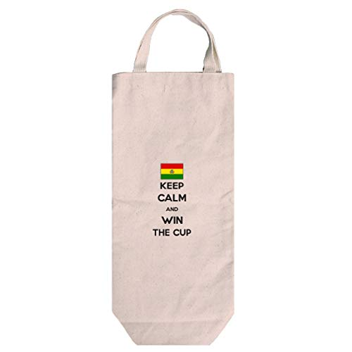 Bolivia Keep Calm Win The Cup Soccer Cotton Canvas Wine Bag Tote With Handles